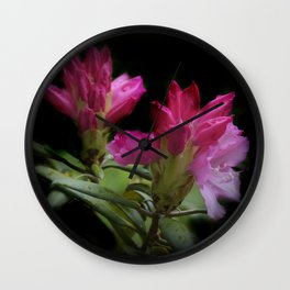 rhododendronbuds on black Wall Clock