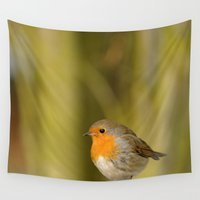 robin Wall Tapestries featuring Robin by Susann Mielke