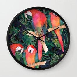 Parrot Tropical Watercolor Illustration Wall Clock