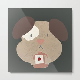 Cute Puppy with Apple Cider Metal Print