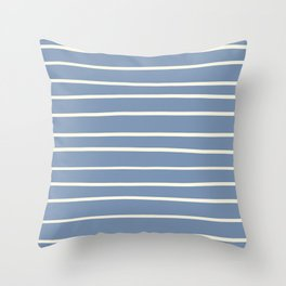Dover White 33-6 Hand Drawn Horizontal Lines on Dusk Sky Blue 27-23 Throw Pillow