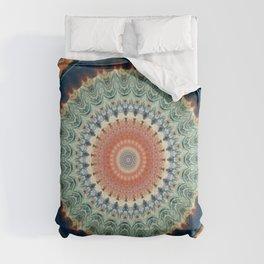 Dark Indigo Blue Orange Mandala Comforters