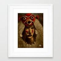 princess mononoke Framed Art Prints featuring Mononoke by Debono Art