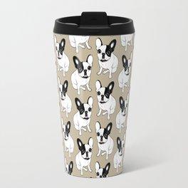 Single Hooded Brindle Pied Frenchie Travel Mug