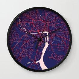 Ipswich, England, Blue, White, City, Map Wall Clock
