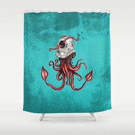 Squid with Diving Helmet Shower Curtain