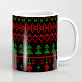 3 Knitted Christmas pattern in retro style pattern Coffee Mug