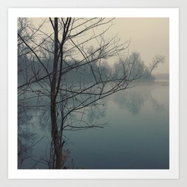 Fog on Cedar Lake Art Print