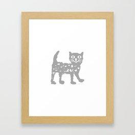 Gray cat pattern Framed Art Print