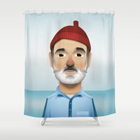 the life aquatic Shower Curtains featuring Steve Zissou The Life Aquatic by Dave Flanagan