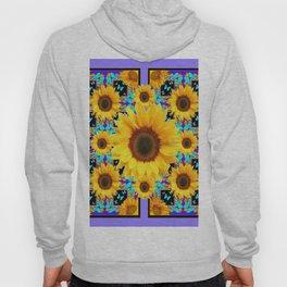 Lilac Purple Yellow Sunflowers &  Aqua Butterflies Quatre  Patterns Hoody