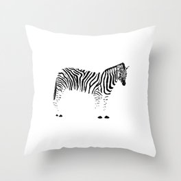 Zebra Ink Drawing Throw Pillow