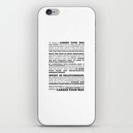 Career Your Way (Black on White) iPhone Skin