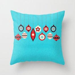 Retro Christmas Baubles Throw Pillow