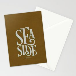 Seaside Typography (Brown) Stationery Cards