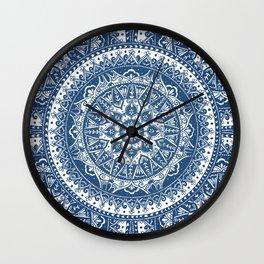 Blue Mandala Pattern Wall Clock