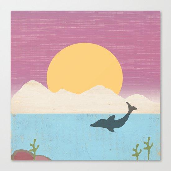 Sunset Swimming Canvas Print