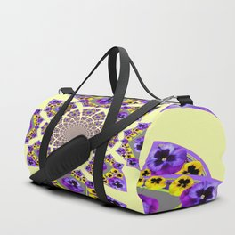 GEOMETRIC  PURPLE & YELLOW  PANSIES ON  CREAM COLOR Duffle Bag