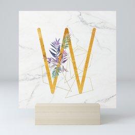 Modern glamorous personalized gold initial letter W, Custom initial name monogram gold alphabet prin Mini Art Print
