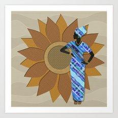 Sunflower Lady Art Print