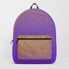Elegant gold faux glitter chic purple gradient pattern Backpack