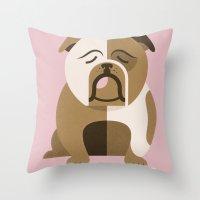 bulldog Throw Pillows featuring Bulldog by Jude Landry