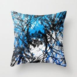 Blue tree pillow one Throw Pillow