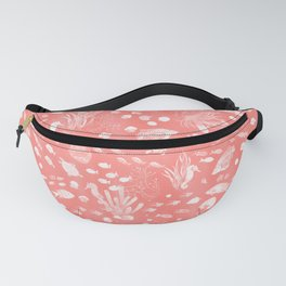 Watercolor Seascape in Deep Coral Peach Fanny Pack