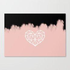 Geometric Heart on Pink Canvas Print