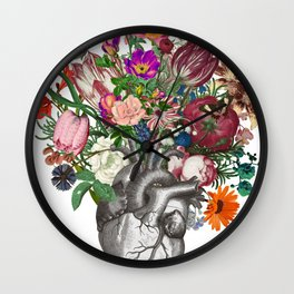 Anatomical heart and flowers Wall Clock