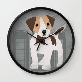 Jack Russel Dog Terrier in brown and white color Wall Clock