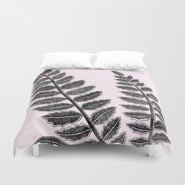 Black lace fern on blush pink background Duvet Cover