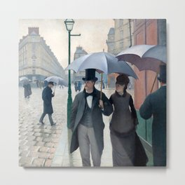 Paris Street Rainy Day (1877) by Gustave Caillebotte. Metal Print