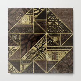 Ethnic Geometric Wooden texture pattern Metal Print