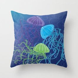 Ethereal Jellies Throw Pillow