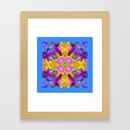 Blue  Patterns Morning Glories & Gold Framed Art Print