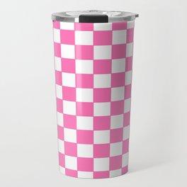 Checkers - Pink and White Travel Mug