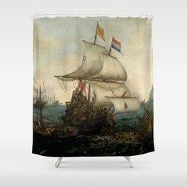 "Hendrick Cornelisz Vroom ""Dutch Ships Ramming Spanish Galleys off the Flemish Coast in October 1602"" Shower Curtain"