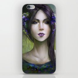 Viola - Girl with purple flowers in her hair iPhone Skin