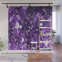 FEBRUARY PURPLE AMETHYST GEMS & CRYSTALS BIRTHSTONE Wall Mural