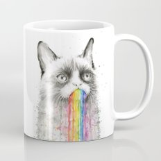 Grumpy Rainbow Cat Watercolor Animal Meme Geek Art Mug