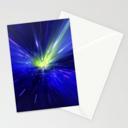 Interstellar, time travel and hyper jump in space. Flying through wormhole tunnel or abstract energy Stationery Cards