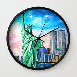 NYC, WTC, Twin Towers, Statue of Liberty Wall Clock