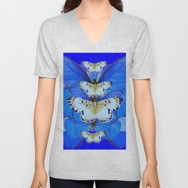 BLUE BUTTERFLIES ABSTRACT PATTERNS ART Unisex V-Neck