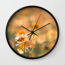 Bee in an Orange Field Wall Clock