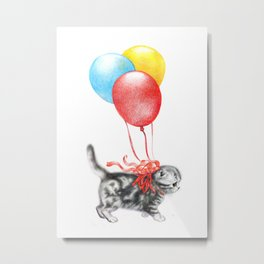 Kitty Marusia with Balloons Metal Print