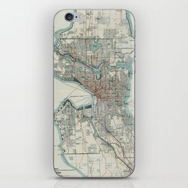 Vintage Map of Seattle Washington (1911) iPhone Skin
