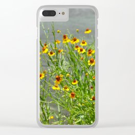 yellow flowes by the river Clear iPhone Case