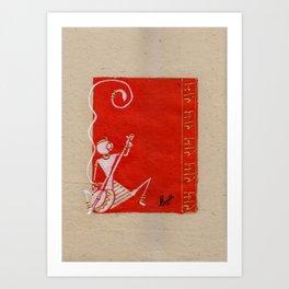 Warli painting -Lord Bal Hanuman / Painting of Monkey King / Original warli painting of Amrita Gupta Art Print
