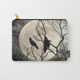 Black White Crows Birds Tree Moon Landscape Home Decor Matted Picture Print A268 Carry-All Pouch